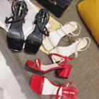 Patent Strap Chunky-heel Sandals