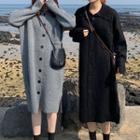 Buttoned Knit Midi Dress