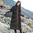 Floral Padded Long Coat Black - One Size