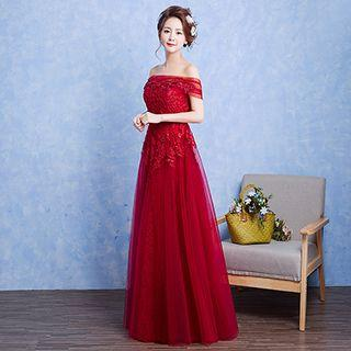 Off Shoulder A-line Evening Gown