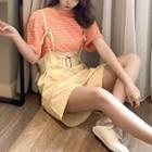 Set: Striped Short-sleeve Top + High-waist Shorts