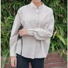 Striped Stand Collar Shirt