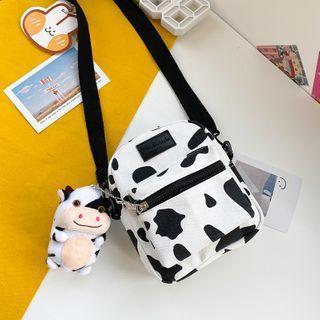 Printed Canvas Crossbody Bag / Bag Charm / Set
