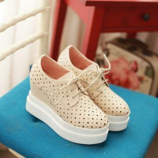 Perforated Lace-up Platform Shoes
