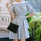 Off Shoulder Elbow-sleeve A-line Dress