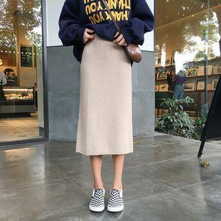 Straight Cut Midi Knit Skirt