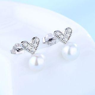 Rhinestone Heart Faux Pearl Earring 1 Pair - 925 Silver - White - One Size