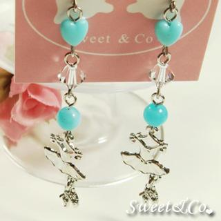 Sweet Blue Ballet Dress Swarovski Crystal Silver Earrings