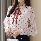 Polka Dot Ruffle Chiffon Shirt