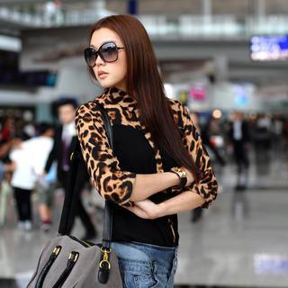 Leopard Print Panel Shirt