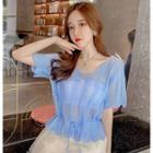 Short-sleeve Tie-waist Perforated Knit Top