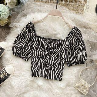 Short-sleeve Zebra Print Top