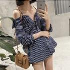 Striped Cold Shoulder Shirt