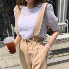 Short-sleeve Pompom Detail Summer Knit Top