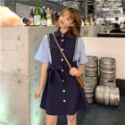 Elbow-sleeve Color-block Tie-waist Shirtdress