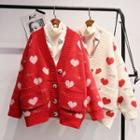 Heart Pattern Boxy Cardigan