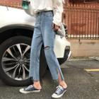 Distressed Split Hem Jeans