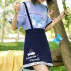 Fish Print A-line Jumper Skirt
