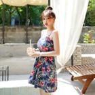Patterned Flared Mini Pinafore Dress