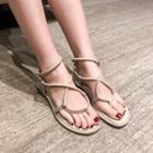 Genuine Leather Rhinestone Sandals