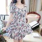 Short-sleeve Floral Print A-line Minidress