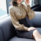 Mock Neck Striped Panel Long Sleeve Dress