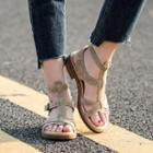 Genuine-leather Flat Roman Sandals