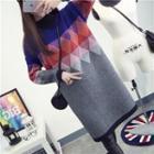 Color Block Mock Neck Long Sweater