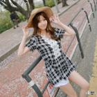 Lace Panel Check Short-sleeve Top