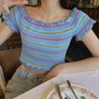 Striped Short-sleeve Top Tshirt - One Size