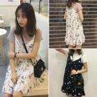 Strappy Floral Chiffon Dress