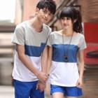 Couple Matching Short-sleeve Color Panel T-shirt