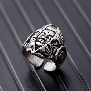Stainless Steel Embossed Face Open Ring