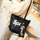 Lettering Faux Leather Tote With Pouch