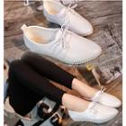 Plain Pointy Lace Up Flats