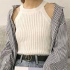 Sleeveless Cable Knit Top