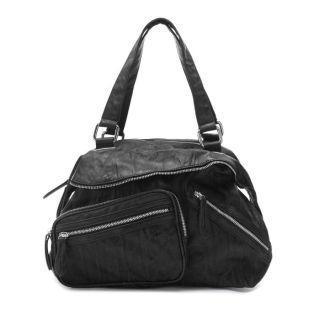 Front-pocket Zip Shoulder Bag Black - One Size