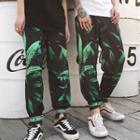 Leaf Print Harem Pants
