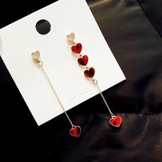 Heart Linked Heart Drop Threader Earring