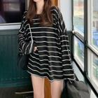 Striped Loose-fit Long-sleeve Top Stripe - Black - One Size