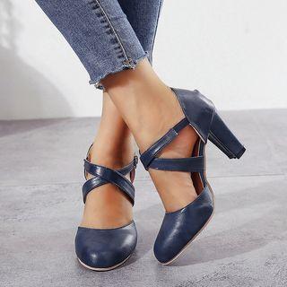 Pointed Cross Strap Block Heel Sandals