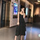 Dotted Strappy Chiffon Midi Dress