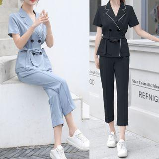 Set: Short-sleeve Double-breasted Shirt + Cropped Straight-cut Pants