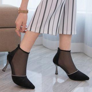 Mesh Kitten Heel Ankle Boots