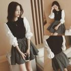 Puff-sleeve Blouse / Patterned A-line Skirt / Set