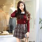 Double-button Plaid Tweed Skort