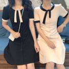 Short-sleeve Contrast Trim Bow Dress