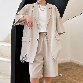 Short-sleeve Striped Trim Blazer