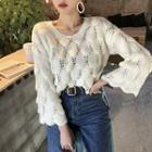 Wide-sleeve Pointelle-knit Sweater