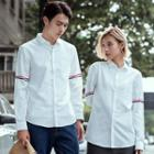Couple Matching Striped Trim Shirt